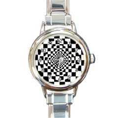 Checkered Flag Race Winner Mosaic Tile Pattern Repeat Round Italian Charm Watch by CrypticFragmentsColors