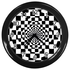 Checkered Flag Race Winner Mosaic Tile Pattern Repeat Wall Clock (black)