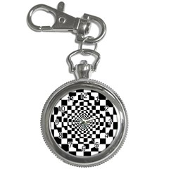 Checkered Flag Race Winner Mosaic Tile Pattern Repeat Key Chain Watch by CrypticFragmentsColors