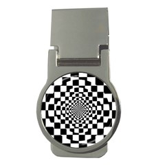 Checkered Flag Race Winner Mosaic Tile Pattern Repeat Money Clip (round) by CrypticFragmentsColors