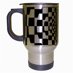 Checkered Flag Race Winner Mosaic Tile Pattern Repeat Travel Mug (Silver Gray) by CrypticFragmentsColors
