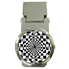 Checkered Flag Race Winner Mosaic Tile Pattern Repeat Money Clip With Watch by CrypticFragmentsColors