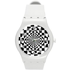 Checkered Flag Race Winner Mosaic Tile Pattern Repeat Plastic Sport Watch (medium) by CrypticFragmentsColors
