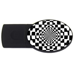 Checkered Flag Race Winner Mosaic Tile Pattern Repeat 2gb Usb Flash Drive (oval) by CrypticFragmentsColors