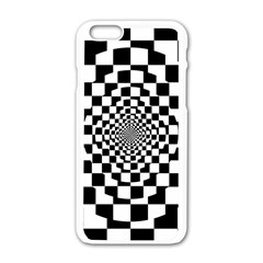 Checkered Flag Race Winner Mosaic Tile Pattern Repeat Apple Iphone 6 White Enamel Case