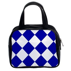 Harlequin Diamond Pattern Cobalt Blue White Classic Handbag (two Sides) by CrypticFragmentsColors
