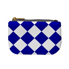 Harlequin Diamond Pattern Cobalt Blue White Coin Change Purse by CrypticFragmentsColors