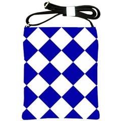 Harlequin Diamond Pattern Cobalt Blue White Shoulder Sling Bag