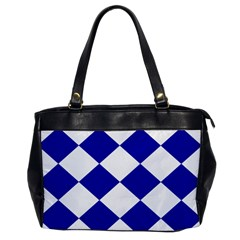 Harlequin Diamond Pattern Cobalt Blue White Oversize Office Handbag (one Side)