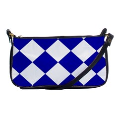 Harlequin Diamond Pattern Cobalt Blue White Evening Bag by CrypticFragmentsColors