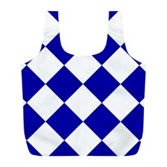 Harlequin Diamond Pattern Cobalt Blue White Reusable Bag (l) by CrypticFragmentsColors