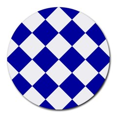 Harlequin Diamond Pattern Cobalt Blue White 8  Mouse Pad (round) by CrypticFragmentsColors