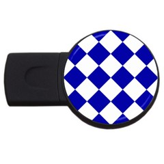 Harlequin Diamond Pattern Cobalt Blue White 2gb Usb Flash Drive (round)