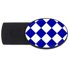 Harlequin Diamond Pattern Cobalt Blue White 4gb Usb Flash Drive (oval) by CrypticFragmentsColors