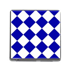 Harlequin Diamond Pattern Cobalt Blue White Memory Card Reader With Storage (square) by CrypticFragmentsColors