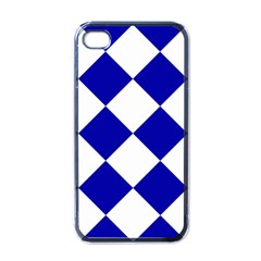 Harlequin Diamond Pattern Cobalt Blue White Apple Iphone 4 Case (black) by CrypticFragmentsColors