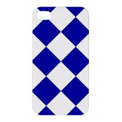 Harlequin Diamond Pattern Cobalt Blue White Apple Iphone 4/4s Hardshell Case by CrypticFragmentsColors