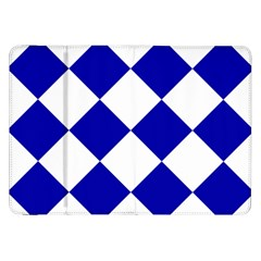 Harlequin Diamond Pattern Cobalt Blue White Samsung Galaxy Tab 8 9  P7300 Flip Case by CrypticFragmentsColors