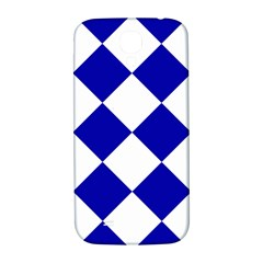Harlequin Diamond Pattern Cobalt Blue White Samsung Galaxy S4 I9500/i9505  Hardshell Back Case by CrypticFragmentsColors