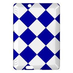 Harlequin Diamond Pattern Cobalt Blue White Kindle Fire Hdx Hardshell Case by CrypticFragmentsColors