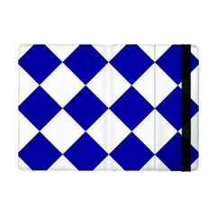 Harlequin Diamond Pattern Cobalt Blue White Apple Ipad Mini 2 Flip Case by CrypticFragmentsColors