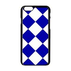 Harlequin Diamond Pattern Cobalt Blue White Apple Iphone 6 Black Enamel Case by CrypticFragmentsColors