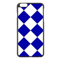 Harlequin Diamond Pattern Cobalt Blue White Apple Iphone 6 Plus Black Enamel Case by CrypticFragmentsColors