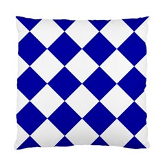 Harlequin Diamond Pattern Cobalt Blue White Cushion Case (single Sided)  by CrypticFragmentsColors