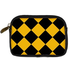 Harlequin Diamond Gold Black Digital Camera Leather Case by CrypticFragmentsColors