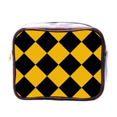 Harlequin Diamond Gold Black Mini Travel Toiletry Bag (one Side)