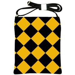 Harlequin Diamond Gold Black Shoulder Sling Bag by CrypticFragmentsColors