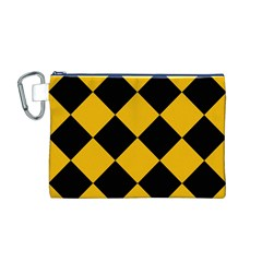 Harlequin Diamond Gold Black Canvas Cosmetic Bag (medium) by CrypticFragmentsColors