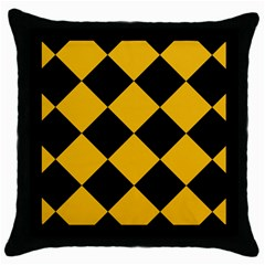 Harlequin Diamond Gold Black Black Throw Pillow Case by CrypticFragmentsColors