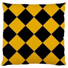 Harlequin Diamond Gold Black Large Cushion Case (single Sided)  by CrypticFragmentsColors