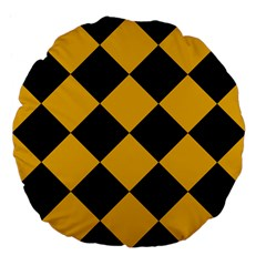 Harlequin Diamond Gold Black 18  Premium Flano Round Cushion  by CrypticFragmentsColors