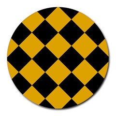 Harlequin Diamond Gold Black 8  Mouse Pad (round) by CrypticFragmentsColors