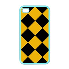 Harlequin Diamond Gold Black Apple Iphone 4 Case (color) by CrypticFragmentsColors