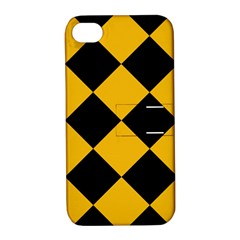Harlequin Diamond Gold Black Apple Iphone 4/4s Hardshell Case With Stand by CrypticFragmentsColors