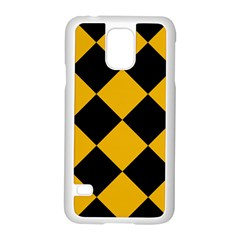 Harlequin Diamond Gold Black Samsung Galaxy S5 Case (white) by CrypticFragmentsColors