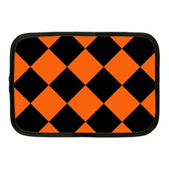 Harlequin Diamond Orange Black Netbook Sleeve (medium)