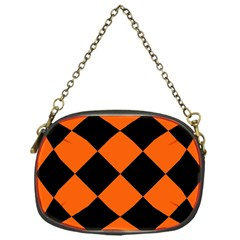 Harlequin Diamond Orange Black Chain Purse (one Side)