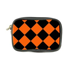 Harlequin Diamond Orange Black Coin Purse by CrypticFragmentsColors