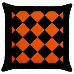 Harlequin Diamond Orange Black Black Throw Pillow Case
