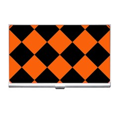Harlequin Diamond Orange Black Business Card Holder by CrypticFragmentsColors