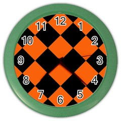 Harlequin Diamond Orange Black Wall Clock (color) by CrypticFragmentsColors