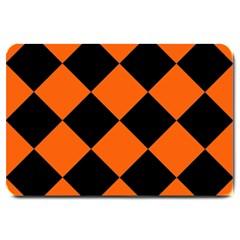 Harlequin Diamond Orange Black Large Door Mat