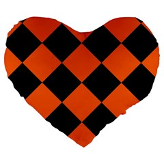 Harlequin Diamond Orange Black 19  Premium Flano Heart Shape Cushion by CrypticFragmentsColors