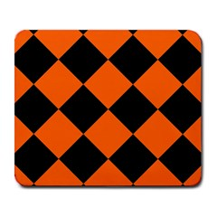 Harlequin Diamond Orange Black Large Mouse Pad (rectangle) by CrypticFragmentsColors