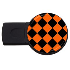 Harlequin Diamond Orange Black 4gb Usb Flash Drive (round) by CrypticFragmentsColors
