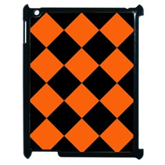 Harlequin Diamond Orange Black Apple Ipad 2 Case (black) by CrypticFragmentsColors